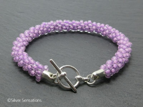 Lavender Purple Kumihimo Seed Bead Fashion Bracelet
